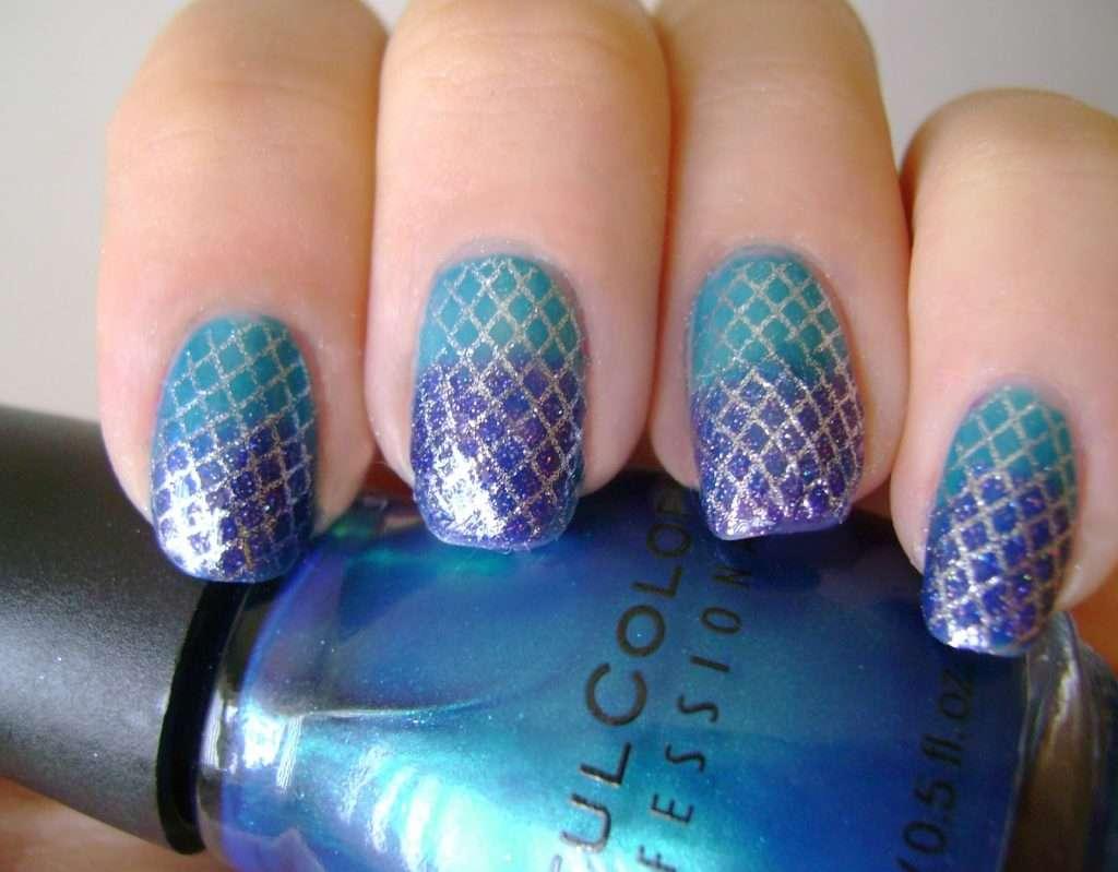 nail art effetto sirena stencil