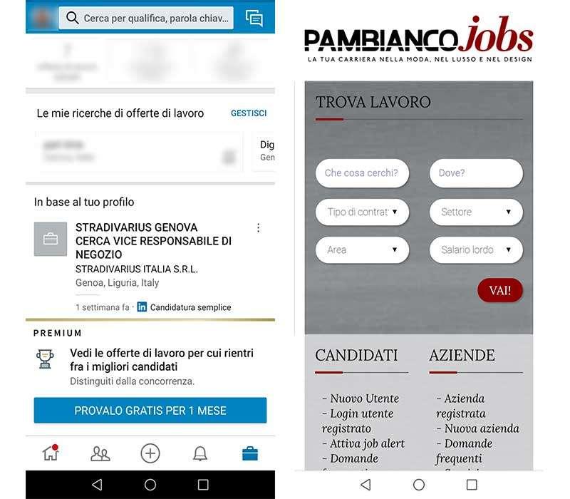 Linkedin e pambianco per trovare lavoro
